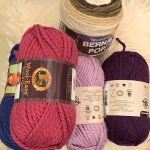 5 Lot of Bulky Medium Yarn Purple Pink Blue Brown